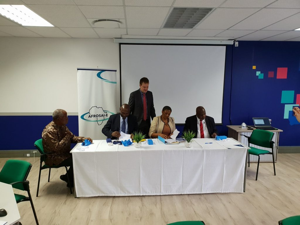 From left: Judge Counselor Amilcar Mujovo Ubisse (SAI Mozambique), Auditor General Edward Ouko (SAI Kenya), Vice President Ewout Irrgang (NCA), Chief Executive Officer Meisie Nkau (AFROSAI-E) and Auditor General Mussa J. Assad (SAI Tanzania)