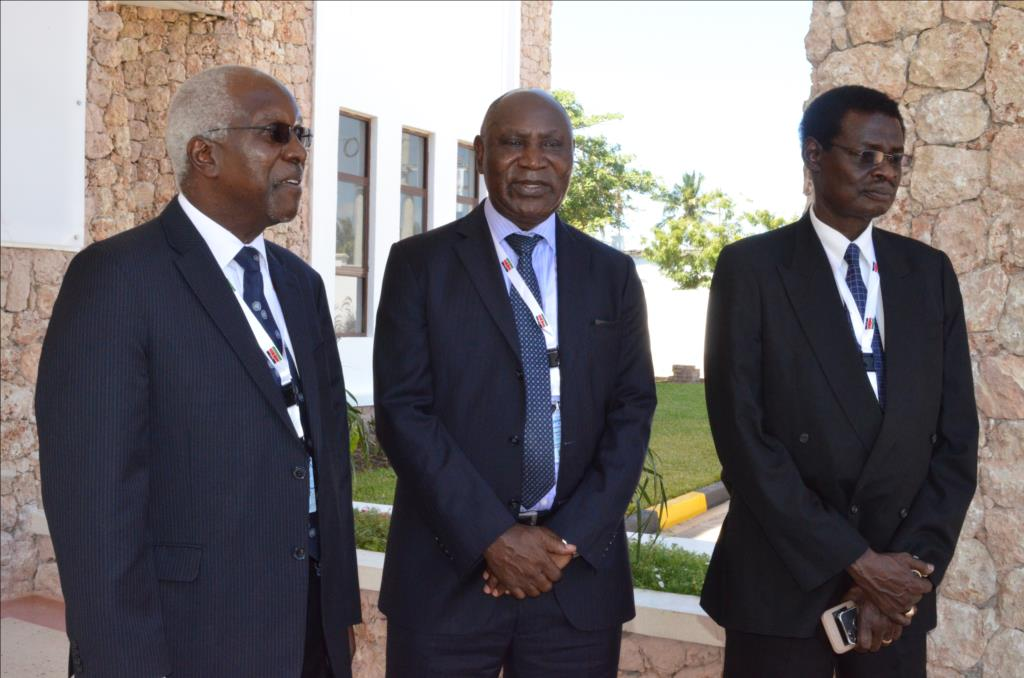 The Chairperson of INTOSAI WGEI Mr. John F.S Muwanga (left) with his Kenyan and South Sudan counterparts Mr. Edward Ouko and Stephen Wondu during the WGEI Conference